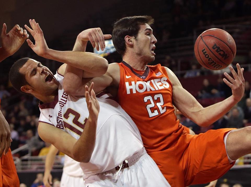 Ryan Anderson  and Virginia Tech forward Christian Beyer tangled in the second half.