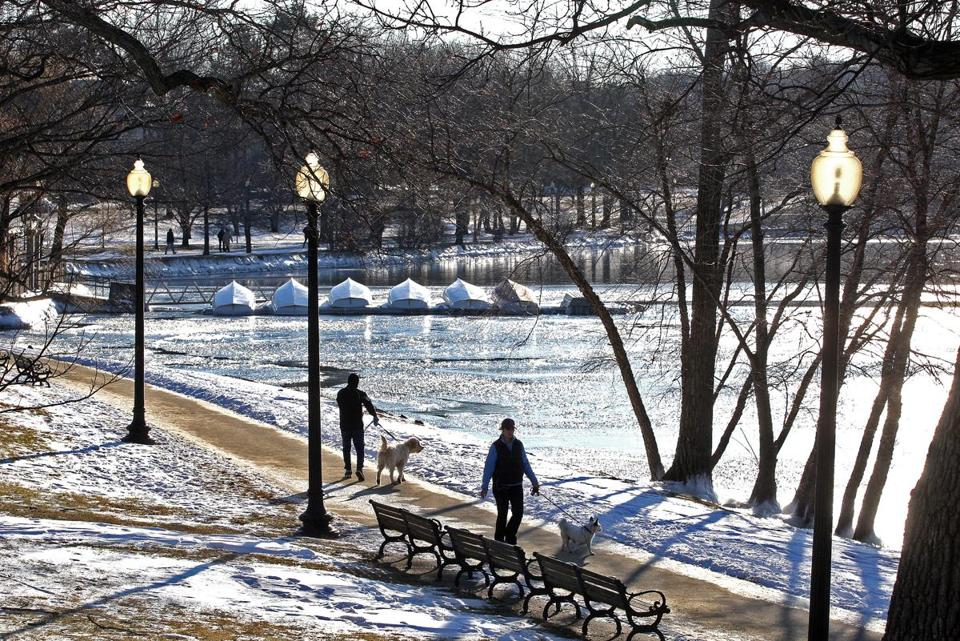 Boston's Emerald Necklace, designed by Frederick Law Olmsted, wraps around Jamaica Pond.