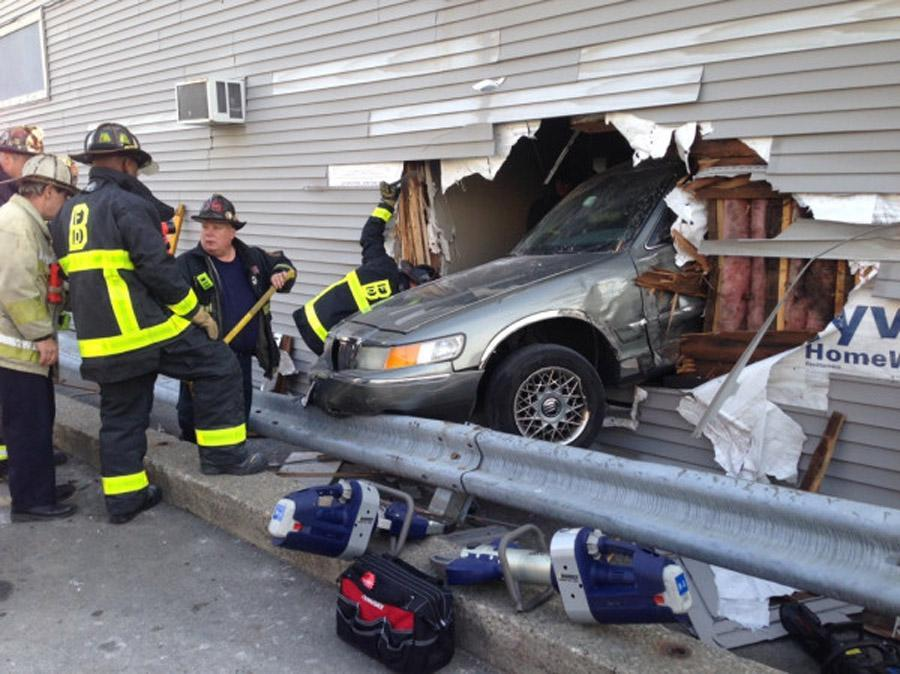 A vehicle crashed into a real estate office on East Broadway in South Boston.