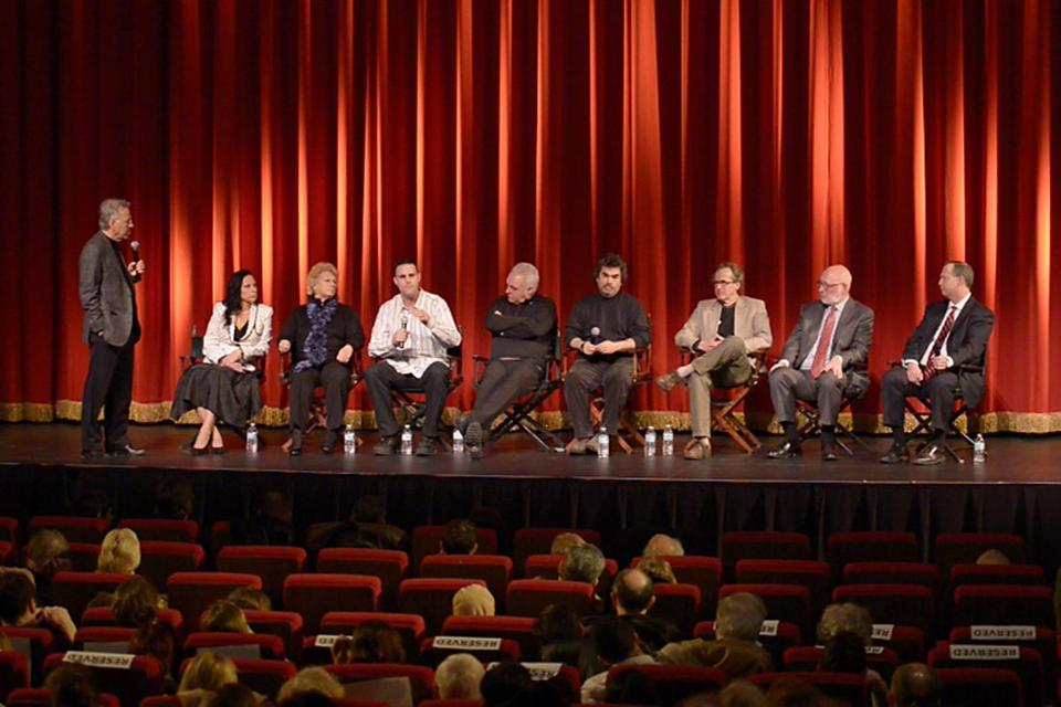 From left: Moderator David Boeri of WBUR, forensic intelligence analyst Angela Clemente, victim's relatives Patricia and Tommy Donahue, the Globe's Kevin Cullen, filmmaker Joe Berlinger, journalist Dick Lehr, attorney J.W. Carney, prosecutor Brian Kelly at the Coolidge Corner Theatre.