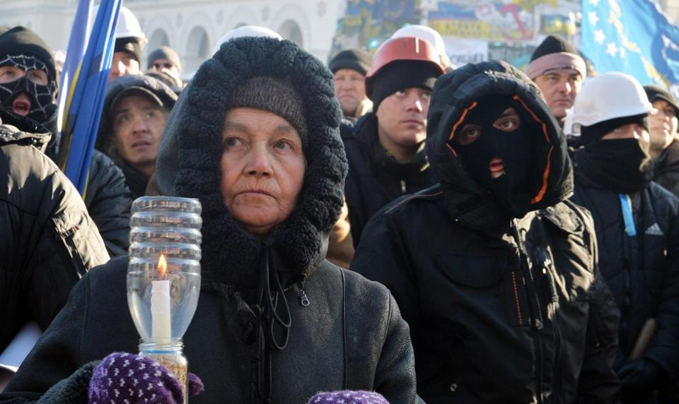 Protesters gathered in Kiev on Sunday.