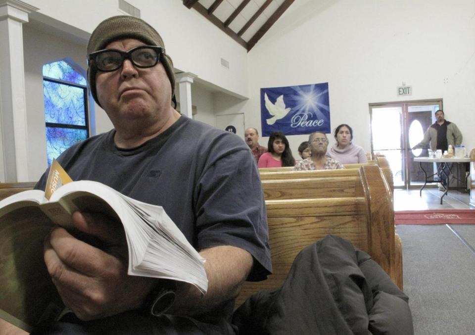William Felix, 56, an unemployed forklift driver, attended  a devotional service at the Salvation Army in Los Banos, Calif.