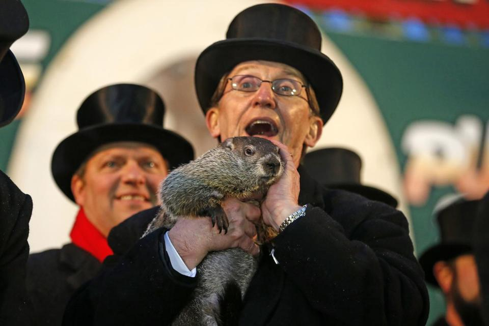 Punxsutawney Phil was held by Ron Ploucha after emerging from his burrow on Gobblers Knob in Punxsutawney, Pa., on Sunday morning.