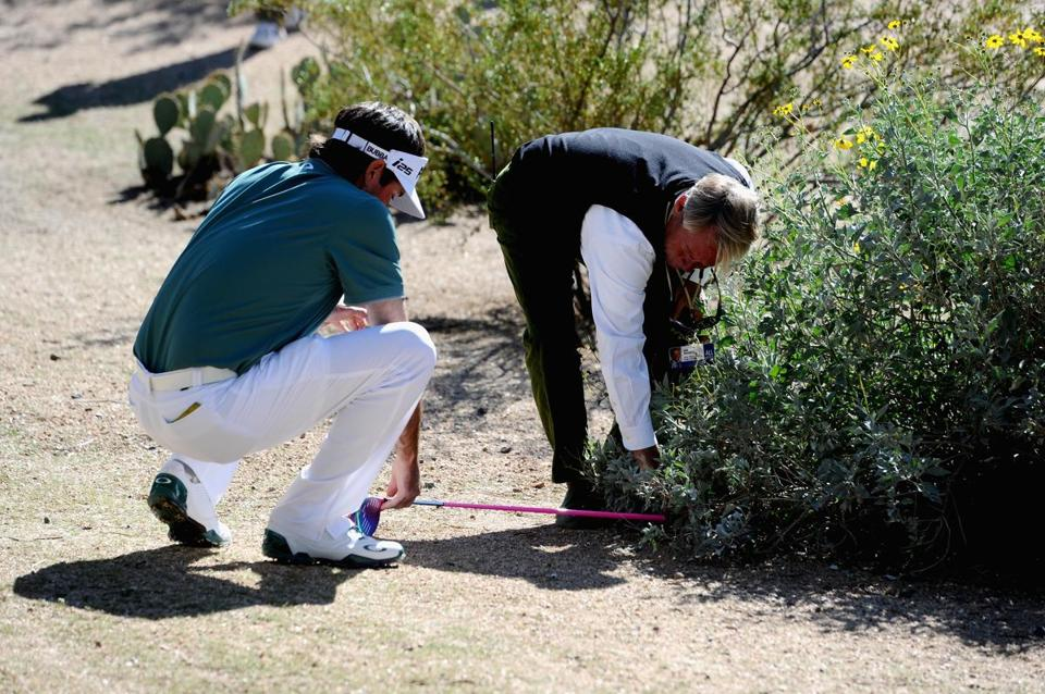 Bubba Watson took a drop on the 13th hole after his drive settled next to an animal hole.
