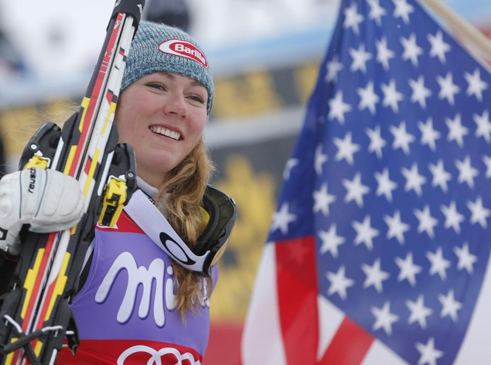 American Mikaela Shiffrin celebrated after winning an alpine ski women's World Cup slalom race earlier this year in Bormio, Italy.