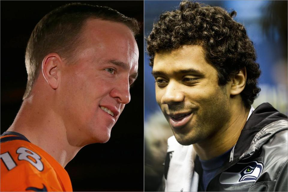 Though his credentials are secure, Peyton Manning (left) still pushes himself. Russell Wilson extends plays better than any quarterback in the NFL.