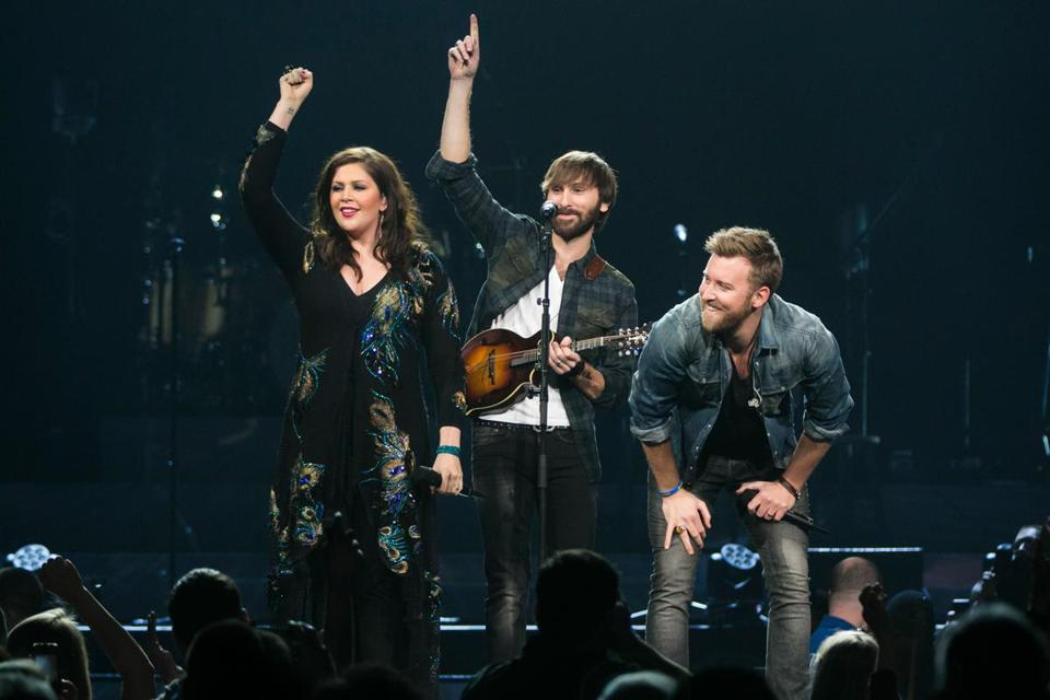 Lady Antebellum — Hillary Scott, Dave Haywood, and Charles Kelley — played to a sold out TD Garden Friday night.