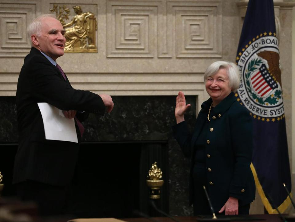 Janet Yellen was sworn in as Federal Reserve chairwoman by Daniel Tarullo, the Federal Reserve Board governor, on Monday.