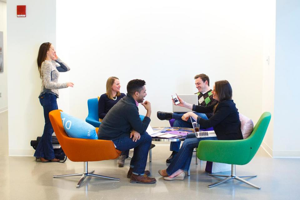 Spaces for informal gatherings are dotted throughout Vertex Pharmaceuticals' halls.