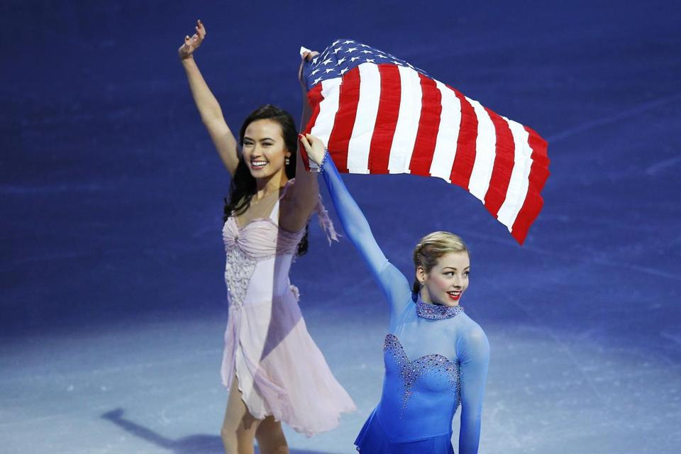 American skaters Madison Chock (left) and Gracie Gold.