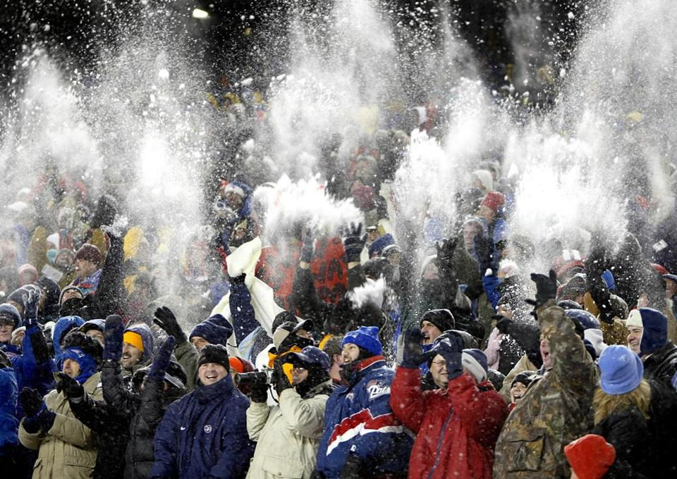 Patriots fans celebrated a victory at snowy Gillette Stadium in 2003. Owner Robert Kraft will have a strong voice in efforts to bring the Super Bowl to town.
