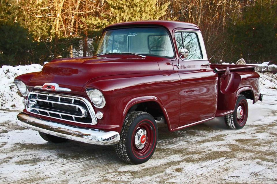 The 1957 Chevrolet pickup restored in Ipswich by Dick Theriault.