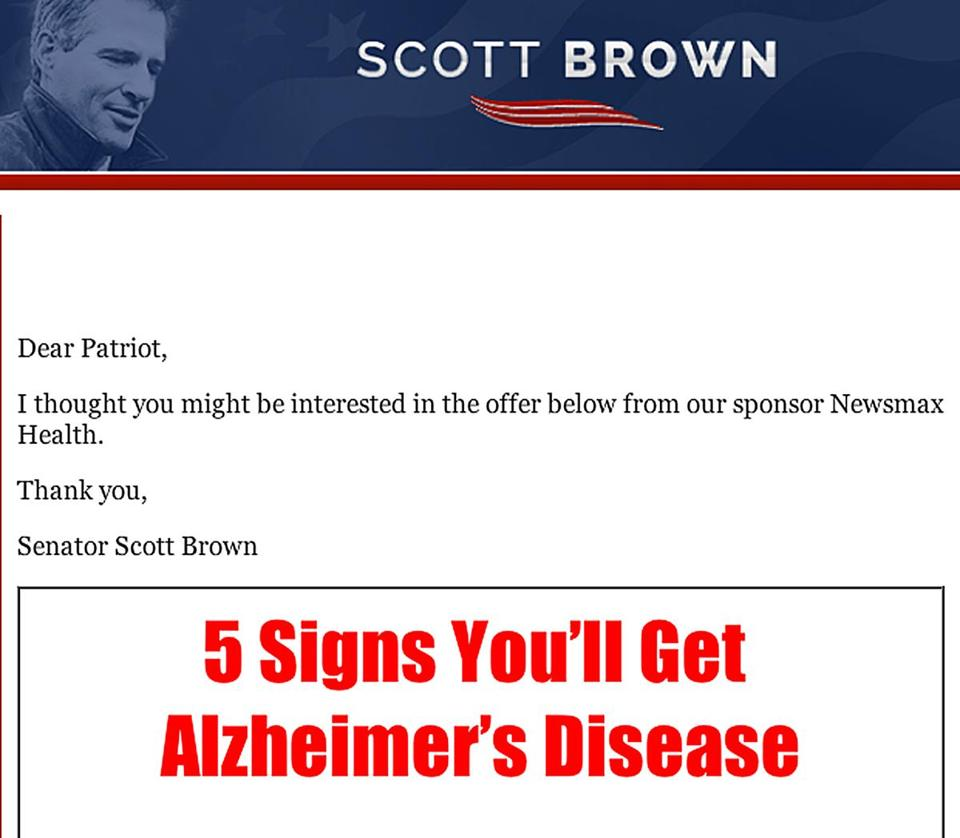 A screen shot of the e-mail sent from Scott Brown's e-mail address.