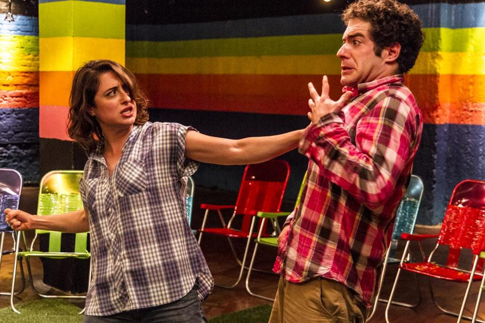 "Christine Stulik and Zeke Sulkes rehearse The Hypocrites' ""12 Nights.''"