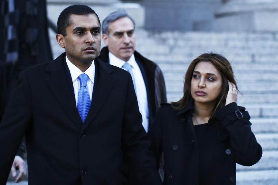 Former SAC portfolio manager Mathew Martoma, with his wife, Rosemary, faces a seven- to 10-year prison sentence.