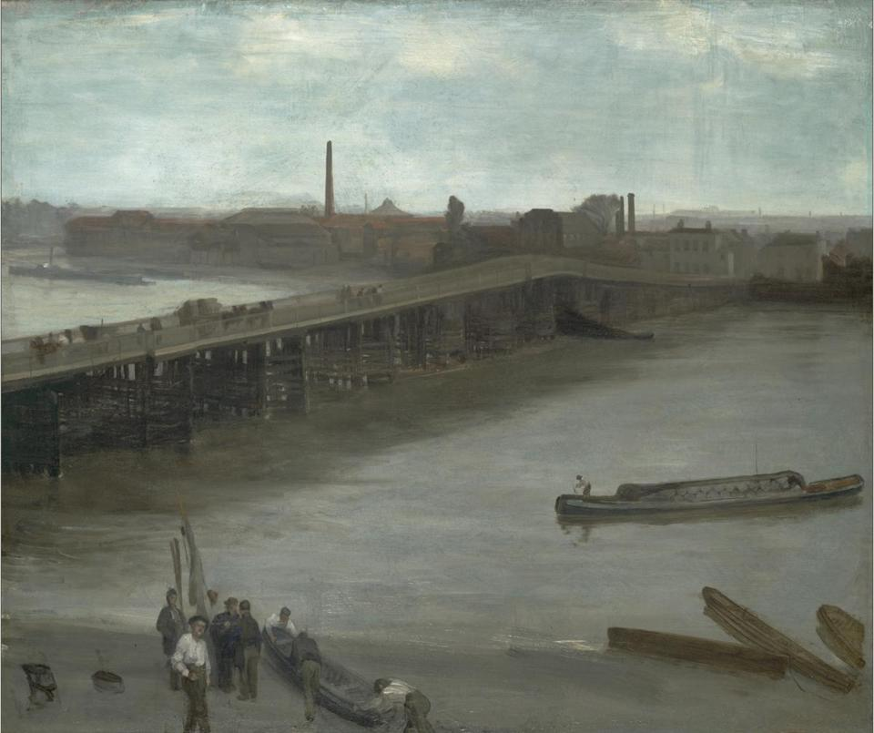 """Brown and Silver: Old Battersea Bridge"" (1859-63) is Whistler's first painted rendition of a favorite subject."