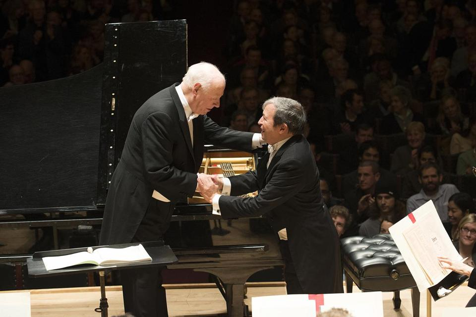 Bernard Haitink led the BSO in a Schumann's Piano Concerto with pianist Murray Perahia, back with the BSO after more than a decade.
