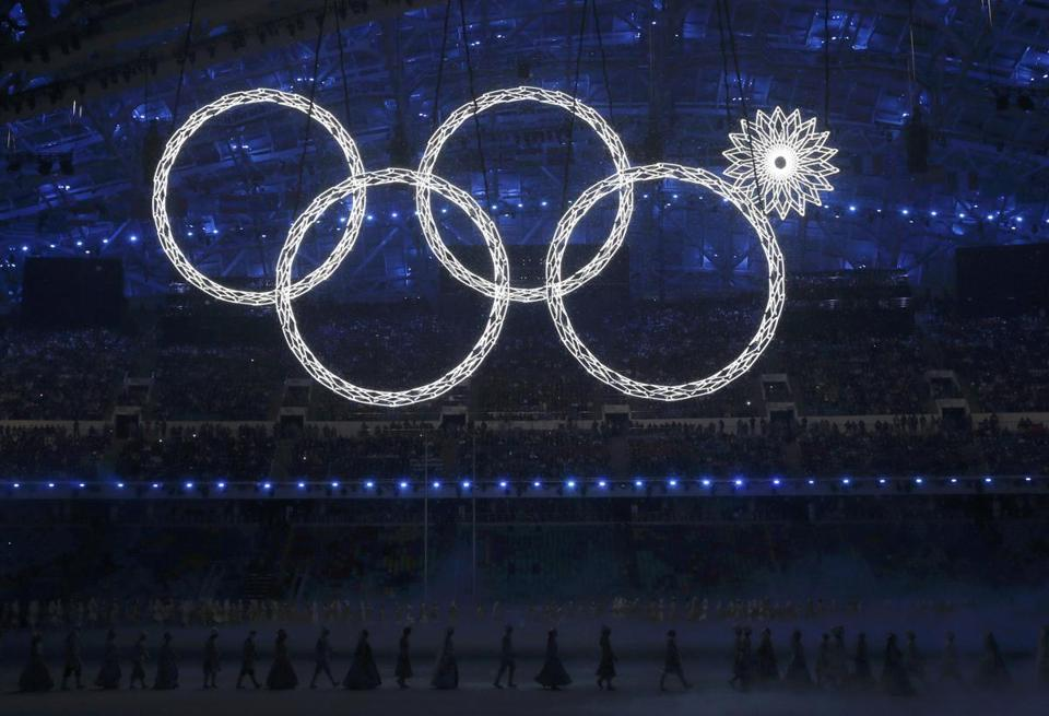 One of the Olympic rings failed to open during Friday's ceremony.