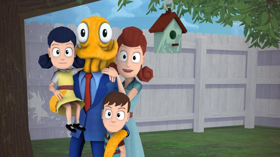 Octodad uses two tentacles for walking and another one to reach out and grab stuff.