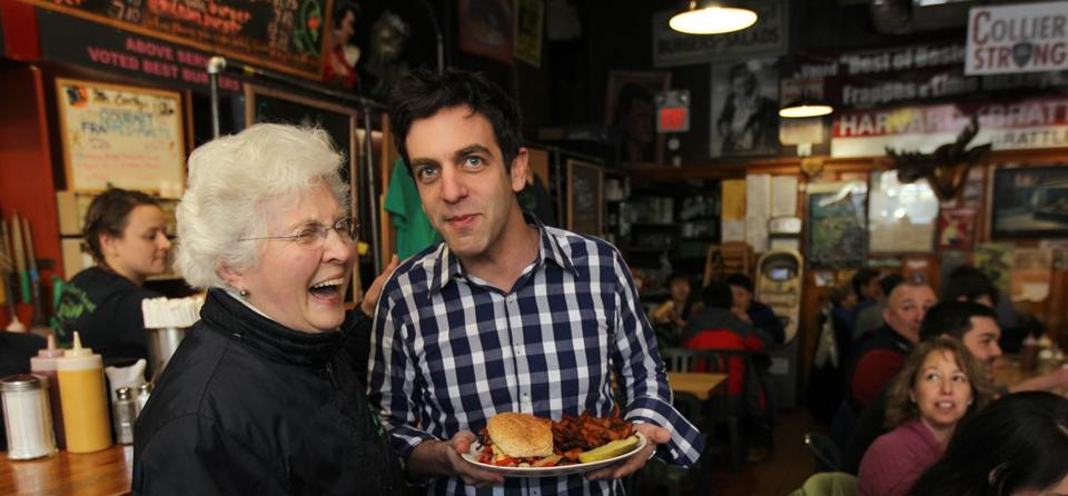 B.J. Novak with Joan Bartley of Mr. Bartley's Gourmet Burgers in Harvard Square.