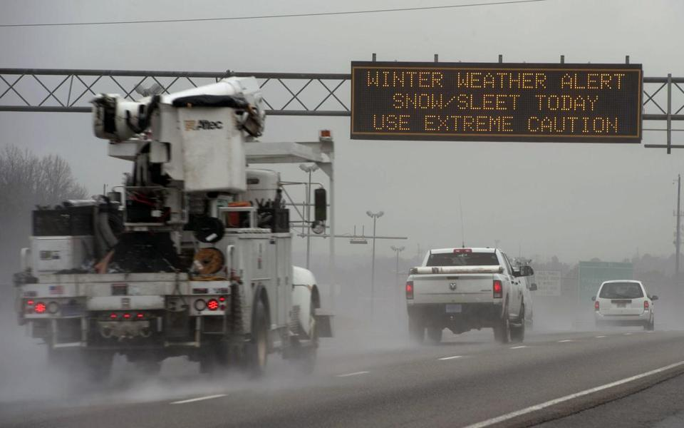 A travel advisory sign advised motorists Tuesday on a highway in in Atlanta.