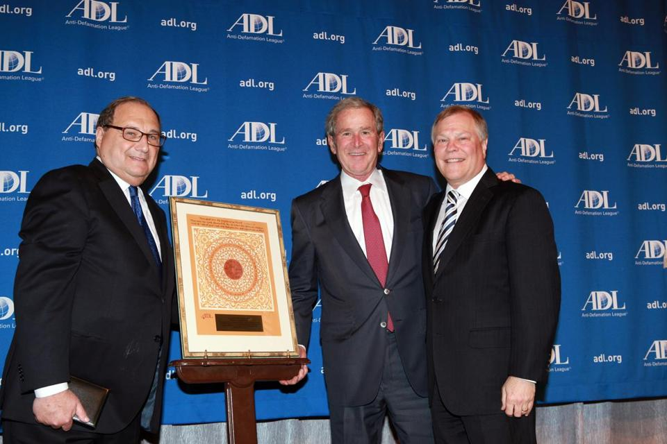 Abraham Foxman, left, director of the Anti-Defamation League, and Barry Curtiss-Lushner, right, ADL National Chair,  presented former President George W. Bush with the ADL America's Democratic Legacy Award on Feb. 6.