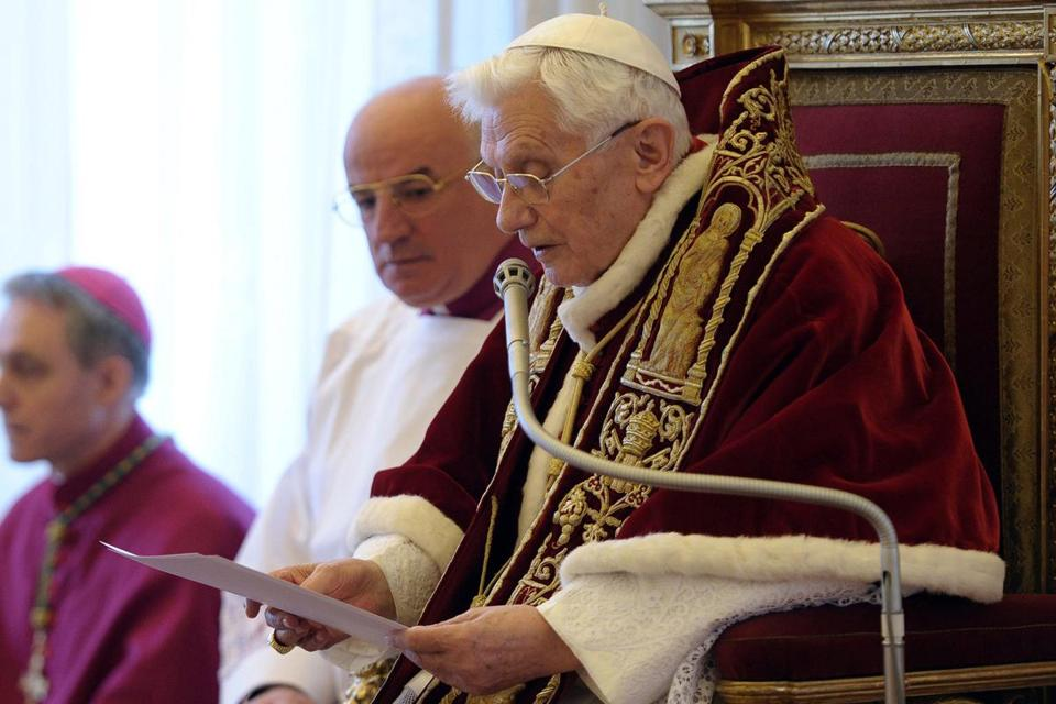 On Feb. 11 of last year, Pope Benedict XVI announced his resignation at the Vatican, reading his statement in Latin.