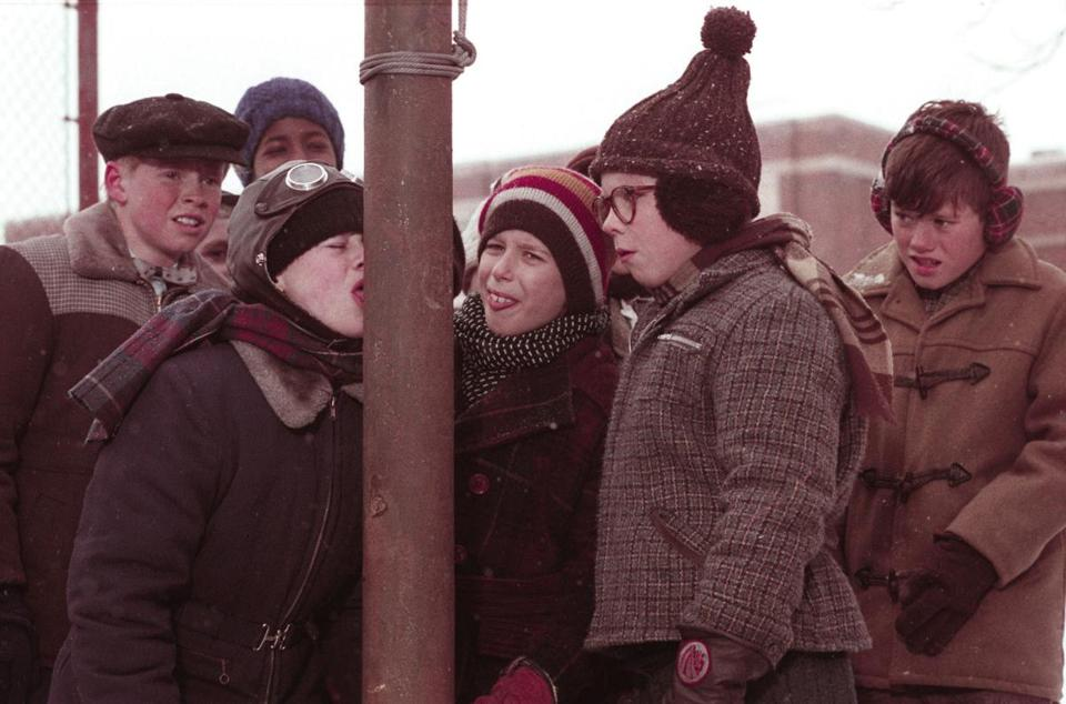 "Scene from the  1983 movie ""A Christmas Story"" in which one of the characters gets his tongue stuck to a metal pole."