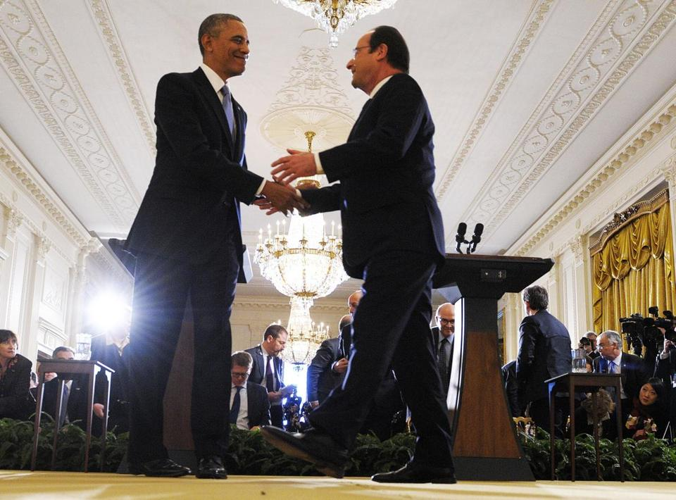 President Obama and President Francois Hollande spoke at a joint press conference at the White House Tuesday.