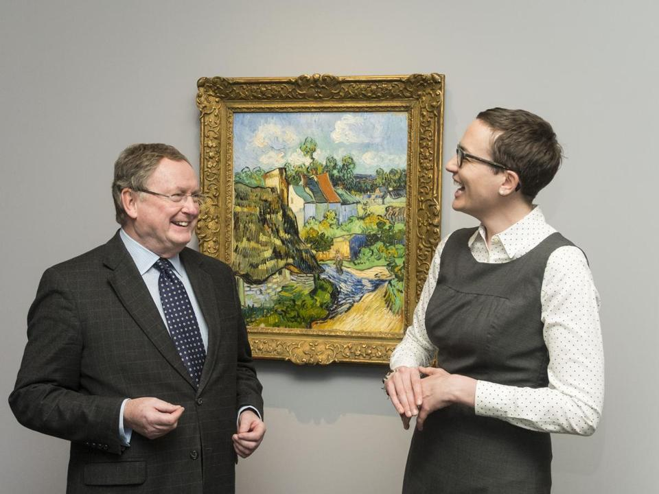 "Malcolm Rogers and Emily Beeny, both of the Museum of Fine Arts, and Van Gogh's ""Houses at Auvers."""