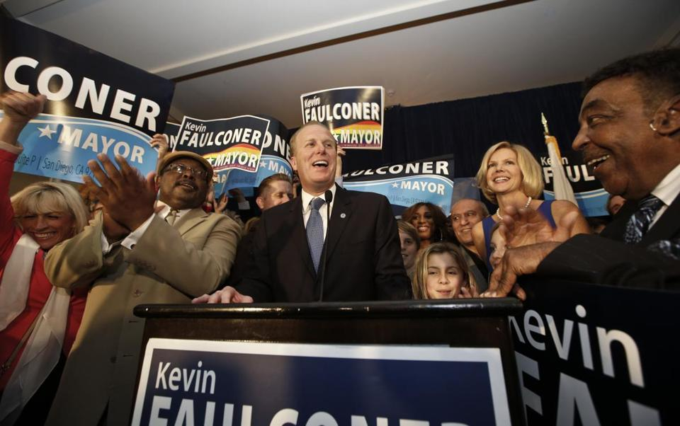 San Diego mayor-elect Kevin Faulconer on election night Tuesday, Feb. 11, 2014, in San Diego.