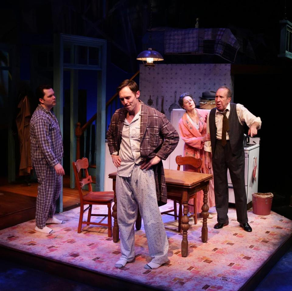"Joseph Marrella, Kelby T. Akin, Paula Plum, and Ken Baltin in the Lyric Stage production of ""Death of a Salesman.''"