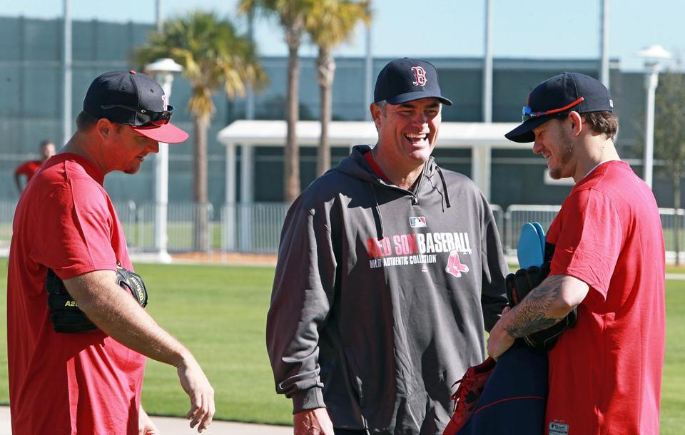 Jake Peavy (right) shared a laugh on Friday with Red Sox manager John Farrell (center) and catcher A.J. Pierzynski.