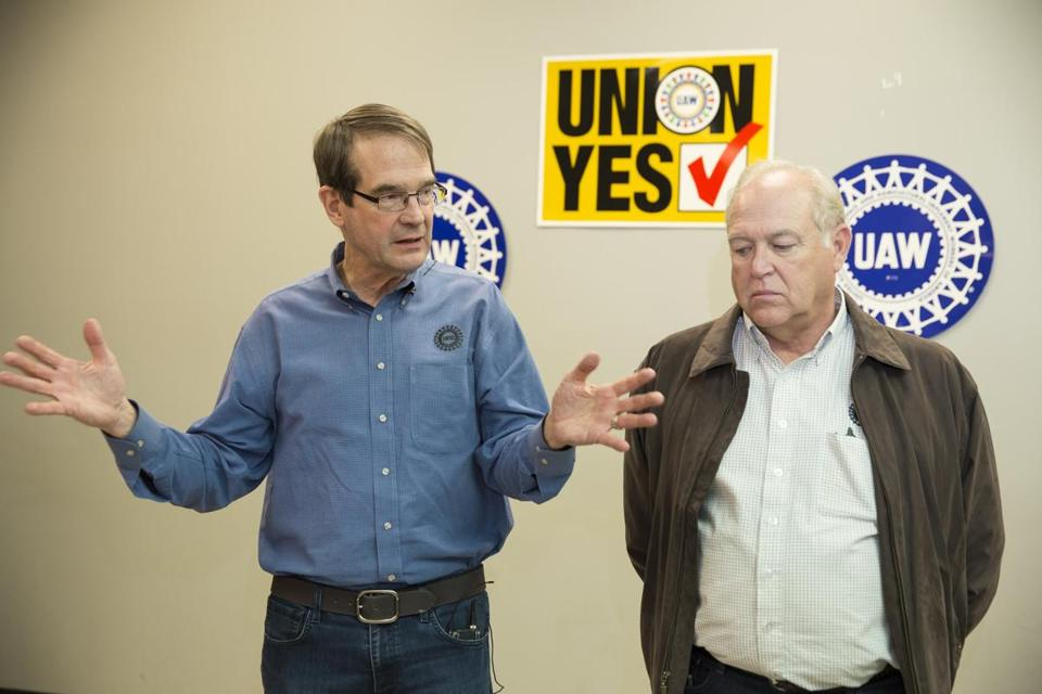 United Auto Workers President Bob King, left, and Secretary-Treasurer Dennis Williams answered in Chattanooga after the vote.