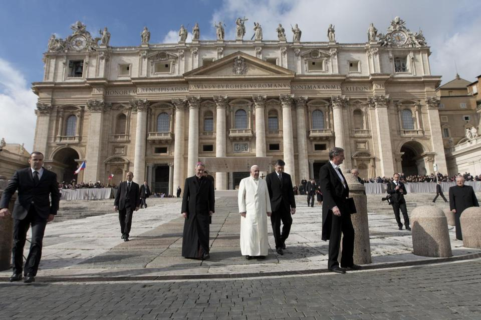 Pope Francis left after his weekly general audience in St. Peter's Square on Wednesday.