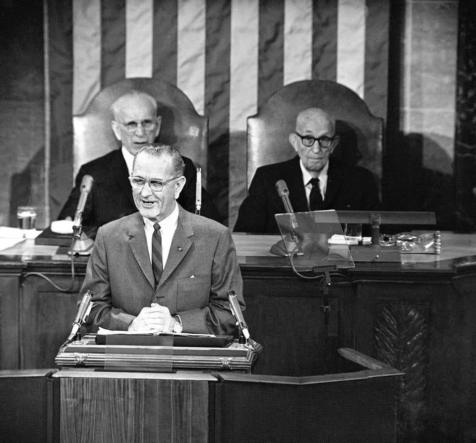 Family and friends of President Lyndon Johnson urged reconsideration of the Johnson years in the White House.