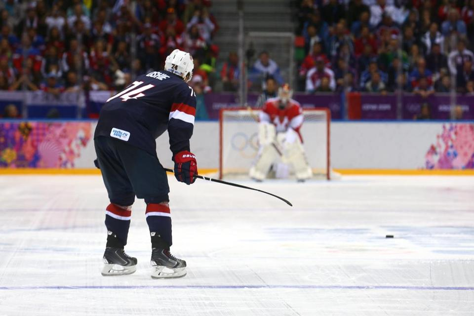 T.J. Oshie and Russia goaltender Sergei Bobrovsky awaited what turned out to be their final confrontation. Oshie scored his fourth goal of the shootout to give the US a 3-2 victory.