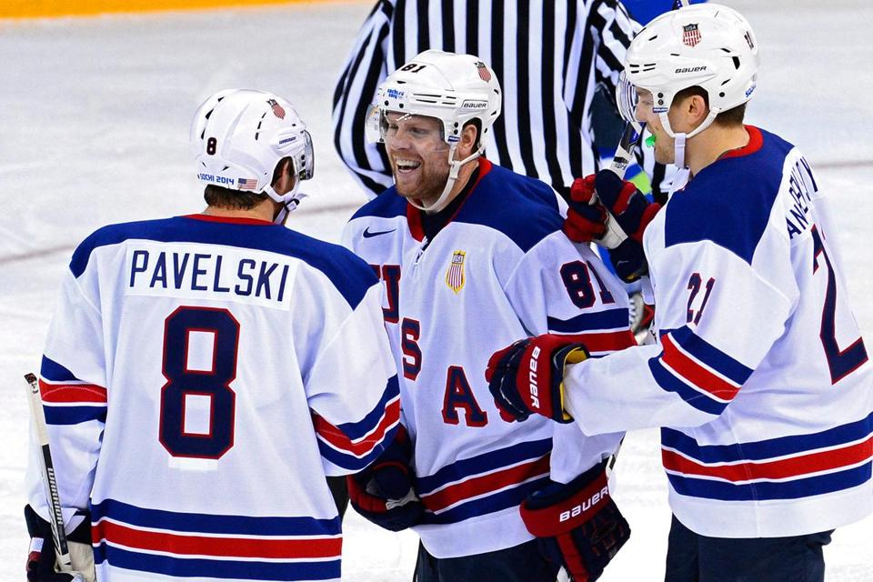 Joe Pavelski assisted on all three goals by Phil Kessel (right), who helped the US avoid a post-Russia letdown by scoring just 64 seconds in.