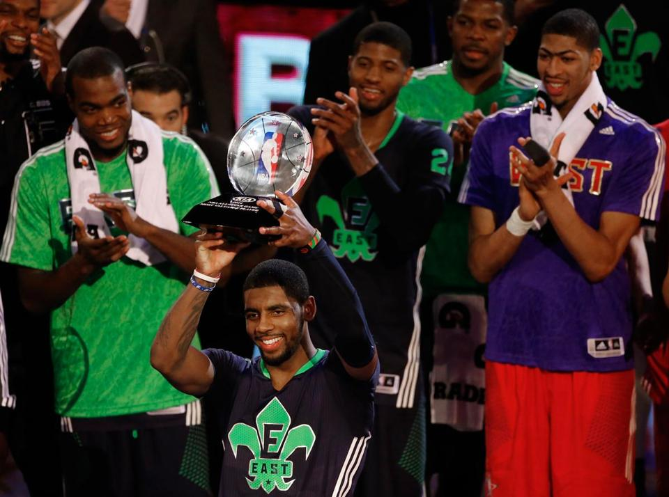Young Cavaliers guard Kyrie Irving walked off with All-Star Game MVP honors, finishing with 31 points and 14 assists.