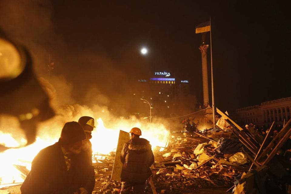 Fires burned at a tent encampment in Independence Square in Kiev.