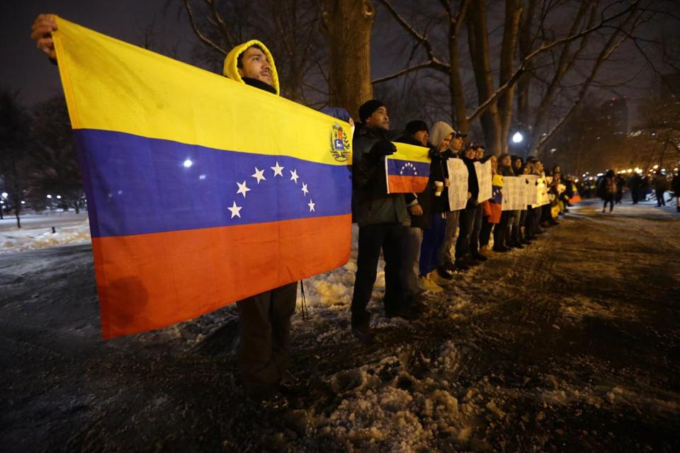 Venezuelans and their supporters protested on Boston Common Tuesday night against a government crackdown on dissidents in their country. Activists say there were 25,000 violent deaths in Venezuela in 2013.