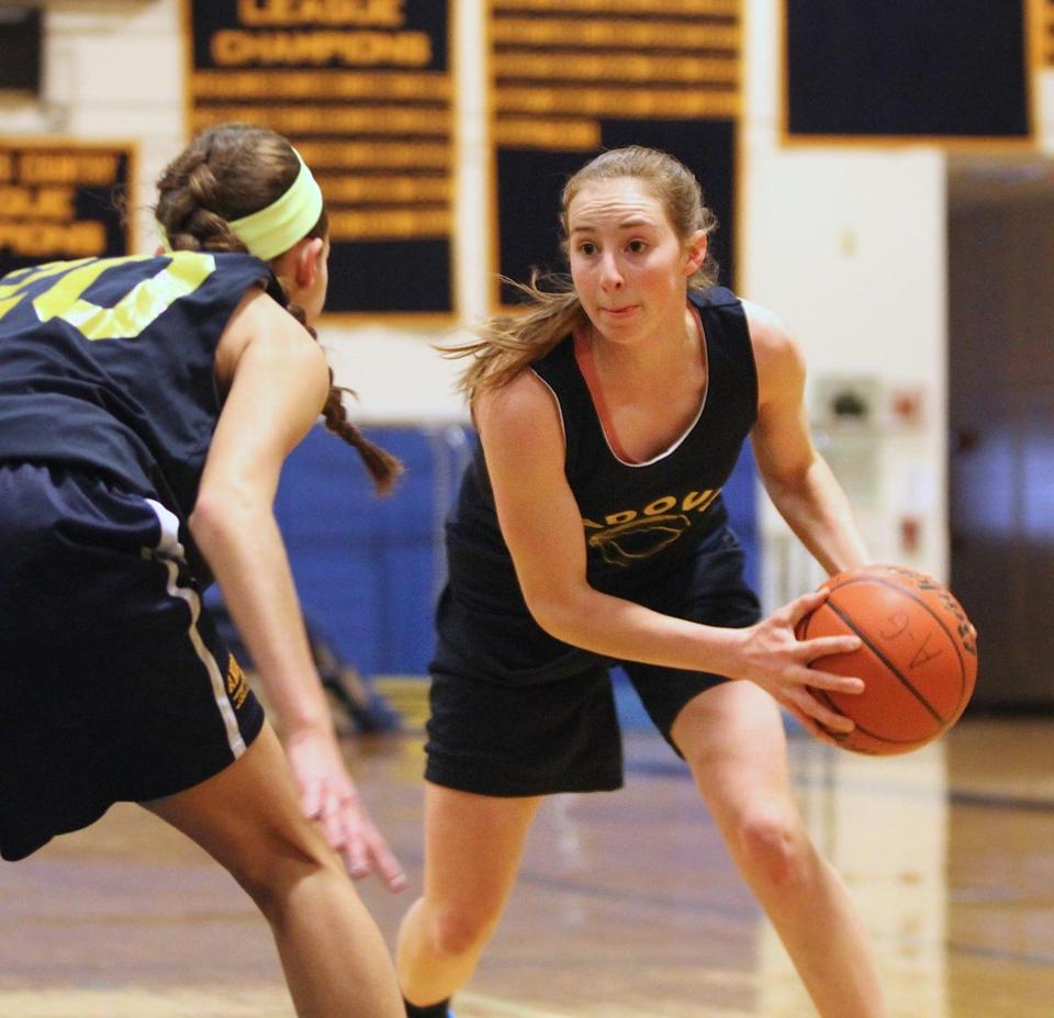 Andover High shooting guard Colleen Caveney lines up a move during practice Tuesday.