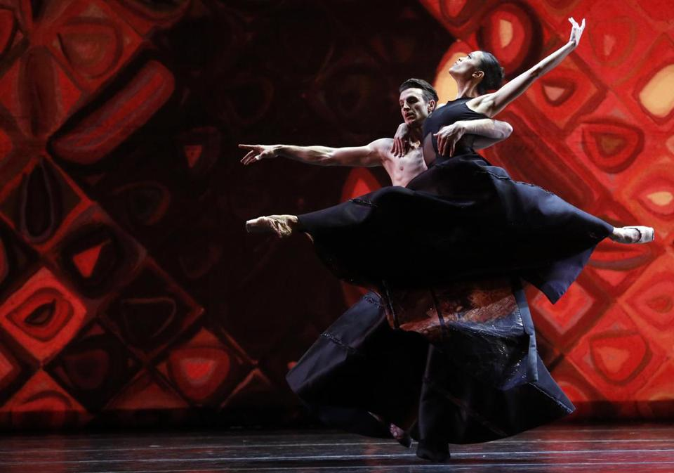 "Sabi Varga (left) and Lia Cirio performed during a dress rehearsal for the Boston Ballet's ""Close To Chuck"" program."