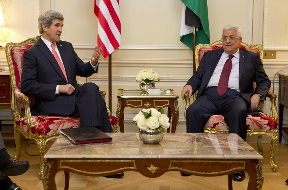 US Secretary of State John Kerry, left, met with Palestinian President Mahmoud Abbas about ongoing peace talks with Israel .