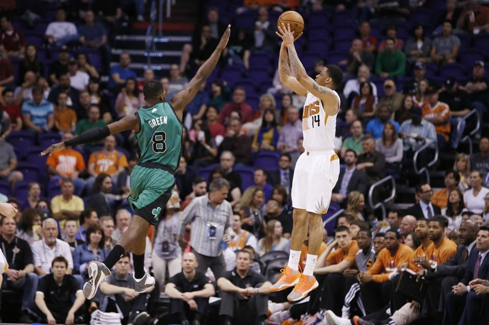 Gerald Green gets off a shot over Jeff Green Wednesday.