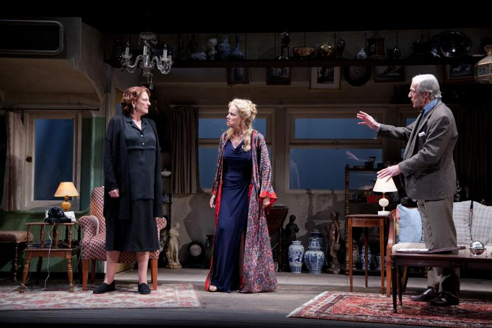 "From left: Jill Tanner, Felicity La Fortune, and Will Lyman in Merrimack Rep's production of ""Equally Divided."""