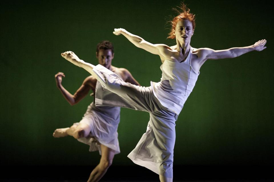"Leslie Kraus (front) and Bergen Wheeler in ""Garden,"" choreographed by Kate Weare for her dance company."