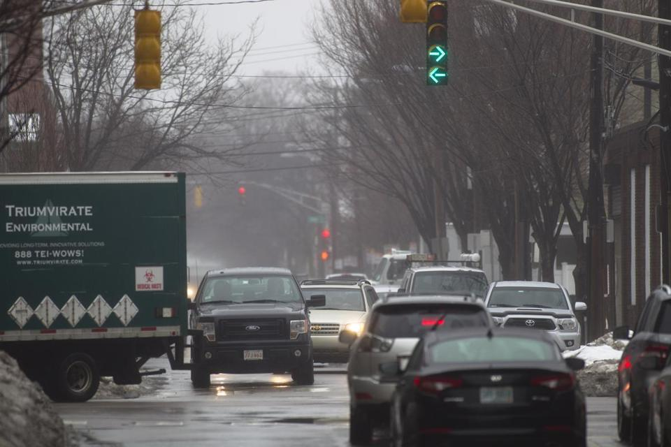 A Somerville resident reported that a left-turn arrow at a Cambridge intersection is confusing because opposing traffic proceeds at the same time.