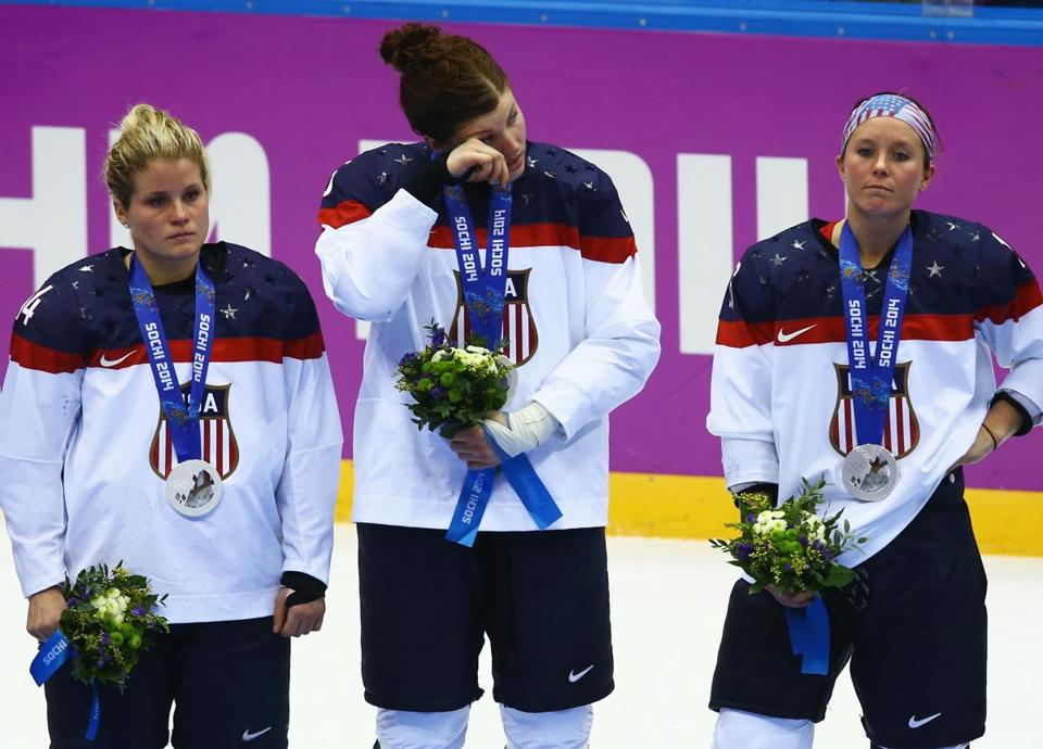 The US women's hockey team couldn't hide their  disappointment after coming so close to the gold medal.
