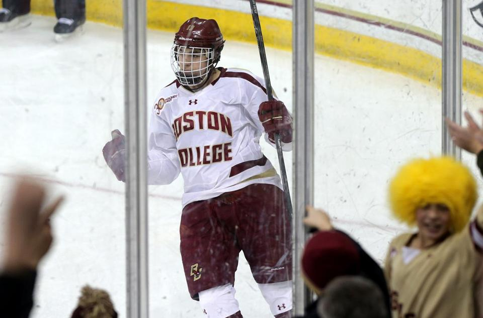 BC forward Johnny Gaudreau celebrates his first-period goal that extended his point streak to 27 games.